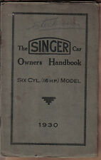 Cantante 16 Hp seis cilindros 1792cc Original Del Propietario Manual 1930