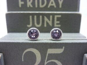Silver Birthstone Earrings June Light Amethyst made with Swarovski Crystal