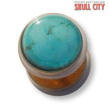 Turquoise Gold Gemstone Fakeplug-Fake piercing Stone plug orecchini a bottone turchese
