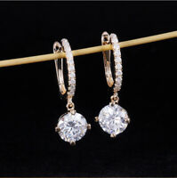 4Ct Round Cut VVS1/D Diamond Drop & Dangle Earrings 14K Rose Gold Over For Her