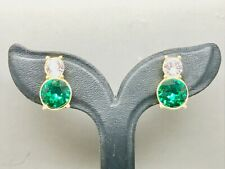 Trifari Green & White Crystal Diamanté Clip Earrings (Signed Trifari)