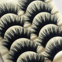 5 Paar Mink Natur lange Falsche Wimpern Künstliche Augen Wimpern 3D Eyelashes