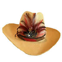 Straw Hat Western Style Feathered hatband about size 7½