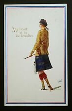 WW1 Postcard Scottish Lady Soldier My Heart Is In The Trenches Honley Yorkshire
