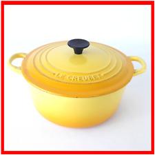 Le Creuset Jaune Casserole 22 Taille D vintage cast iron enamel Round Dutch Oven