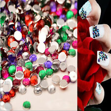 2000PC AB Colorful Round Acrylic Rhinestones Flat Back Crystal Nail Art Supplies