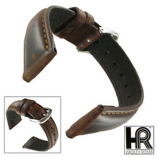 Hadley Roma MS881 20mm Short Watch Strap Band Oiled Leather Brown Padded Mens