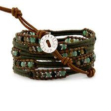 Kelitch Jade Beads Woven on Leather 5 Wrap Bracelet Fashion Jewelry Bangle Chain
