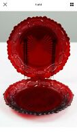 "Avon Set Of 2 Cape Cod 1876 Ruby Red Glass Salad / Dessert Plate 7 1/4"" NEW"