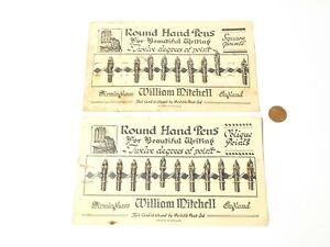 2 x Cards Fountain Pen Nib William Mitchell 12 Degrees Oblique & Square Points