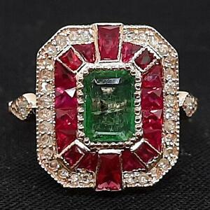 $3,199 Antique Solid 14K Rose Gold 2.50ctw Emerald & Ruby Old Cut Diamond Ring