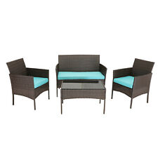 HTTH 4 PCS Outdoor Furniture Wicker Conversation Sets with Cushions and Table