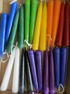 SOLID COLOUR SPELL CANDLES x22, handmade in uk, 45min burn time (M-mtc)