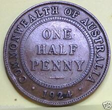 1924M AUSTRALIAN HALF PENNY VERY LOW MINTAGE=0.68million (J1-2)