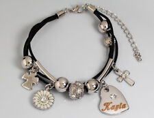 Genuine Braided Leather Charm Bracelet With Name - KAYLA - Gifts for her