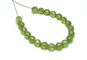 "4"" Strand PERIDOT 5mm Faceted Round Beads NATURAL"
