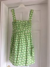 Size 8 100% Cotton Green White Yellow Dress / Top Worn Once Tie Back