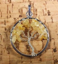 NATURAL CITRINE TREE OF LIFE  WIRE WRAPPED PENDANT STONE GEMSTONE