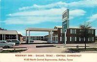 Dallas Texas~Rodeway Inn~Central Expressway~1950-60s Cars~Postcard