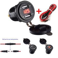 Dual USB Ladeanschluss 3.1A mit Voltmeter&10A Sicherung für 12-24V Auto Motorrad