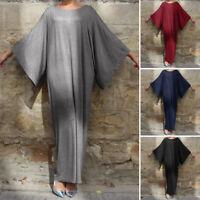 Damen Oversized Fledermaus Rundhals Lose Freizeit Lang Maxi Kleid Kaftan Plus