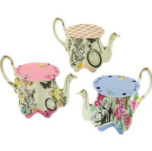 6 x Alice in Wonderland Teapot Cake Stands For Cupcakes