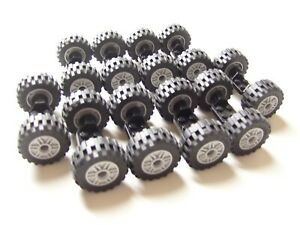 LEGO WHEELS 30.4x14mm 10 sets (20 tires/10 axles) lot truck car vehicle City
