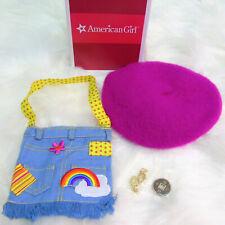 American Girl IVY MEET ACCESSORIES Gold Chandelier Earrings Purse Beret Coin BOX