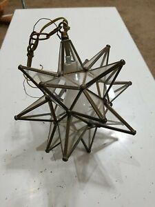 Vintage Star Hanging Lamp Glass Metal Frame Ceiling Fixture Chandelier