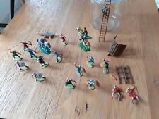 Lot 21 pieces soldats chevaliers Moyen Age Elastolin no Starlux TBE