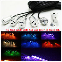 12V 8M 6in1 RGB LED Car Interior Decor Neon EL Strip Light Bluetooth App Control