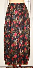 SUSAN BRISTOL Vintage Full Pleated Black Floral Wool Blend Skirt Size 8