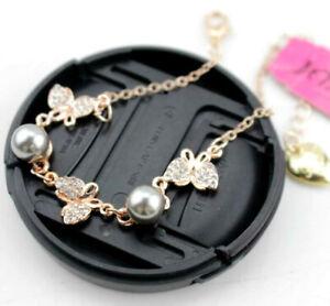 Fashion Jewelry Betsey Johnson Rhinestone Enamel pearl butterfly Gold bracelets