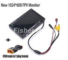 7 inch LCD TFT FPV 1024 x 600 Monitor w/ T plug Screen FPV Monitor Photography