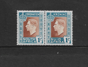 1937 - SOUTH AFRICA - CORONATION - 1/- BILINGUAL PAIR - UNMOUNTED MINT.