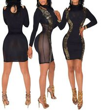Black Cut Out Gold Sequins Cold Shoulder long Sleeves Bodycon mini Dress BD257