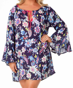 Anne Cole Floral Bell Sleeve Swimsuit Cover Up Beach Dress 1X 14W 16W