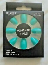 New Hot Aqua Almond False Nails (24 Pieces) Sealed/Boxed