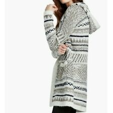 Women's Lucky Brand Hooded Jacquard Knit open front Cardigan Sweater Extra Small