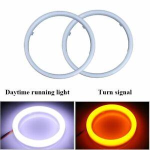 Halo Ring Car Headlight Angle Eye DRL Turn Signal Running Lamp White Yellow 2pcs