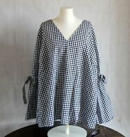 Ava & Viv Womens Plus 3X Top Black White Gingham Tie Bell Sleeve Blouse {F24}