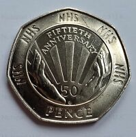 1998 Fifty Pence 50th Anniversary of the NHS 50p Brilliant Uncirculated BU Rare