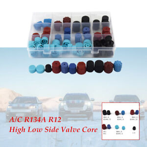 77Pcs A/C R134A R12 High Low Side Valve Core/Service Port Dust Cap H2P5 Durable