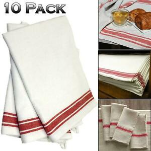 Tea Towels Linen Cotton Kitchen Dish Catering Cleaning Drying Cloths Pack Of 10