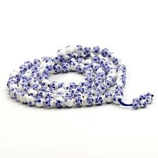 8mm Tibet Buddhist 108 Blue Flower Porcelain Bracelet Prayer Beads Mala Necklace