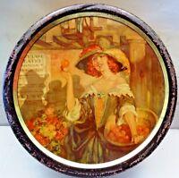 VINTAGE TIN ENGLISH TAVENERS FRUIT DROPS ADVERTISING CANDY LITHO PRINT COLLECTIB