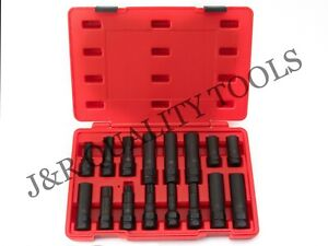 16 Piece SAE Metric Universal Locking Lug Nut Master Key Set Wheel Lock Removal