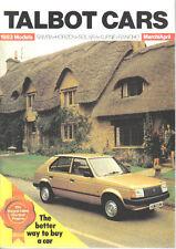Talbot Cars Mar-Apr 1983 Horizon Alpine Solara Original Sales Brochure No. C9630