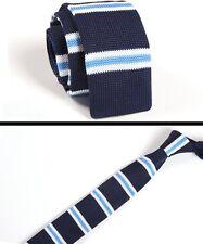 Men's Navy Blue White Stripe Tie Knit Knitted Necktie Slim Narrow Skinny ZZLD057