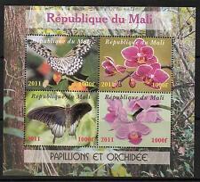 MALI BUTTERFLIES & ORCHIDS SHEETLET (4) MNH
